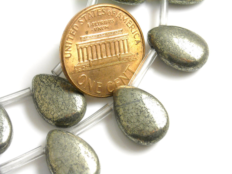 Gemstone - Pyrite - Teardrop Shaped - 14mm x 10mm - 1 Strand (28 beads)