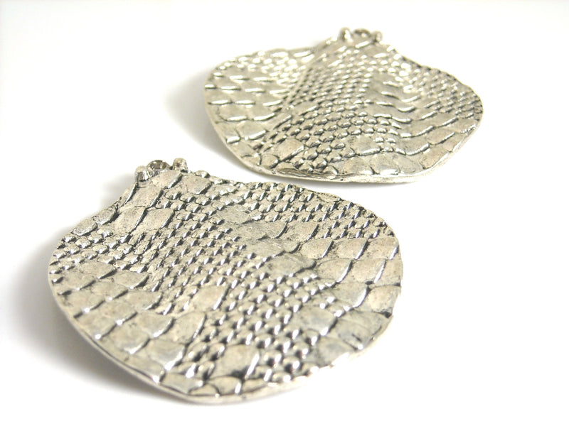 Charm - Antiqued Silver Plated - Snake Skin Texture - 41mm - 2 pcs