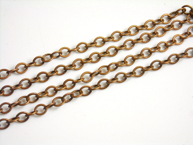 Chain - Antique Copper Plated - Grade A - 3.5mm x 2.5mm - 10 feet