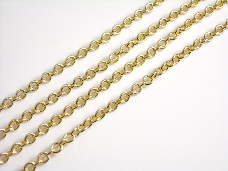 Chain - 14k Gold Plated - Premium Quality - 2.5mm x 2mm - Custom Length - Pim's Jewelry Supplies