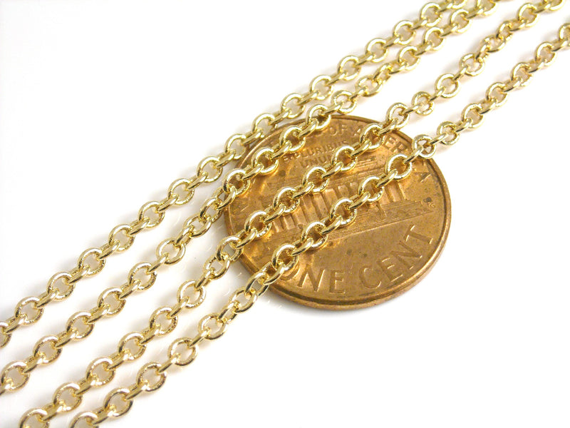 Chain - 14k Gold Plated - Premium Quality - 2.5mm x 2mm - Custom Length