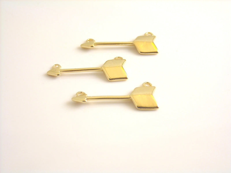 Charm - 14k Gold Plated - Arrow Charms - 18mm - 1 pc