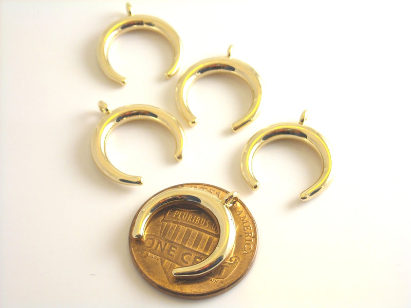 Charm - 14k Gold Plated - Crescent - 16mm - 2 pcs