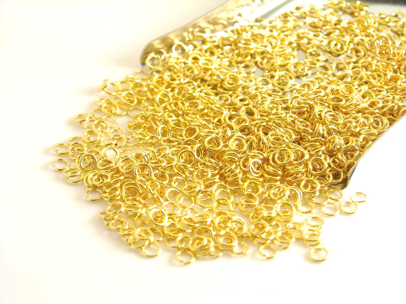Jump Rings - 14k Gold Plated Stainless Steel - 2.5mm outer diameter - 50 pcs - Pim's Jewelry Supplies
