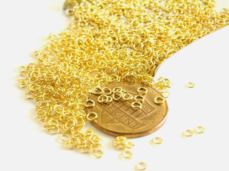 Jump Rings - 14k Gold Plated Stainless Steel - 2.5mm outer diameter - 50 pcs
