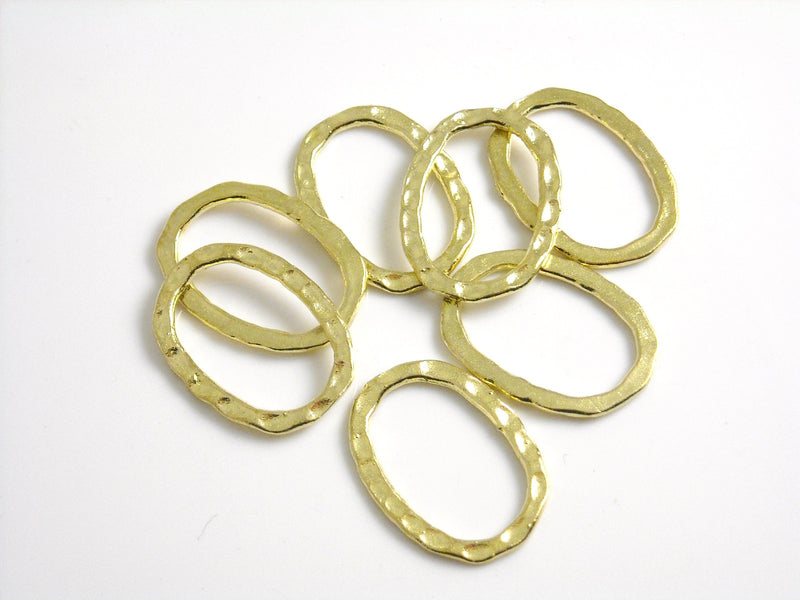 Links - Raw Brass - Oval Textured & Sealed - 14mm x 12mm - 2 pcs