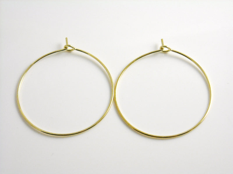 Hoop Earrings - Premium 14k Gold Plated - 34mm - 2 pcs