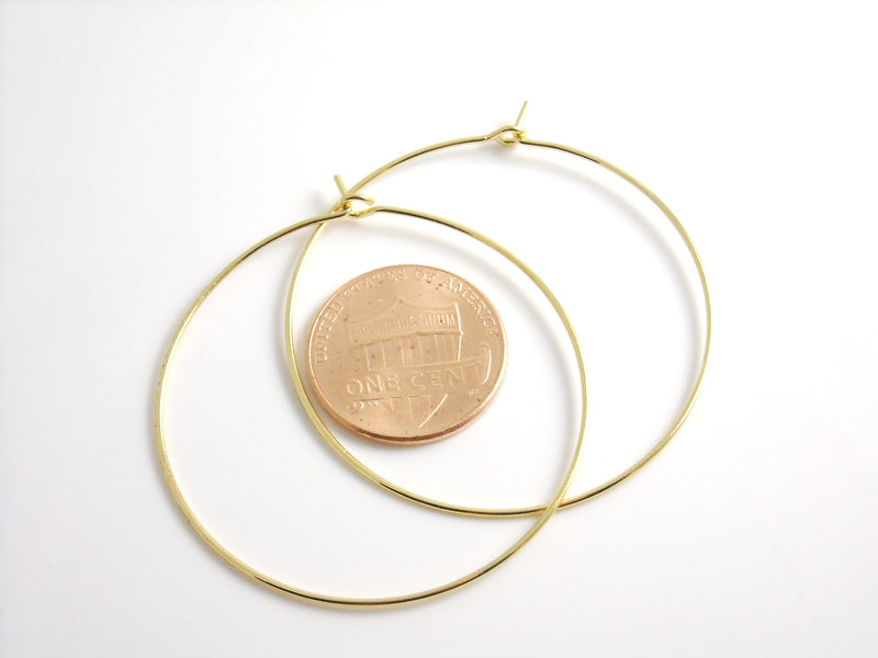 Hoop Earrings - Premium 14k Gold Plated - 44mm - 2 pcs - Pim's Jewelry Supplies