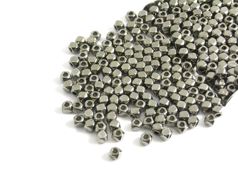 Spacer - Gunmetal - Hexagon Shaped - 3mm - 30 pcs - Pim's Jewelry Supplies