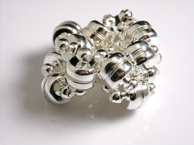 Magnetic Clasps - Silver Plated - 11mm - 4 Clasps