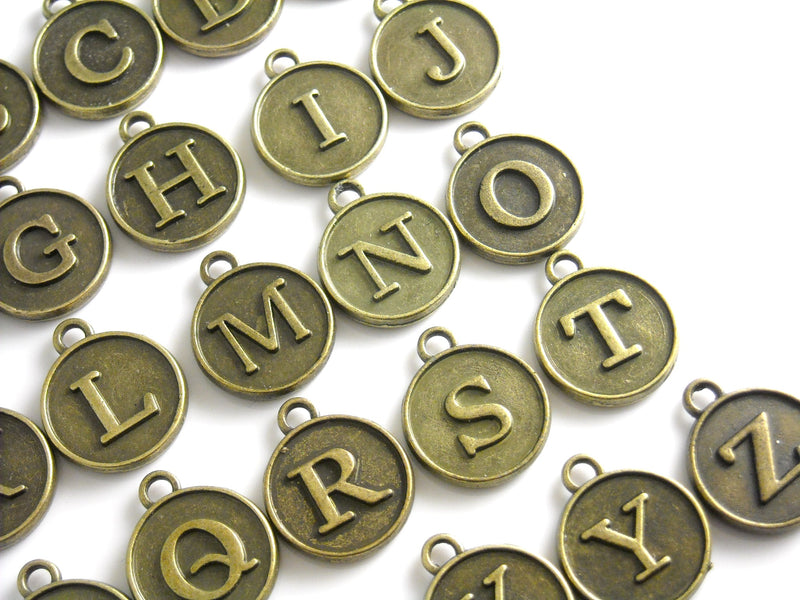Charm - Antique Bronze - Alphabet - Typewriter Key Style - 12mm - Choose your letter