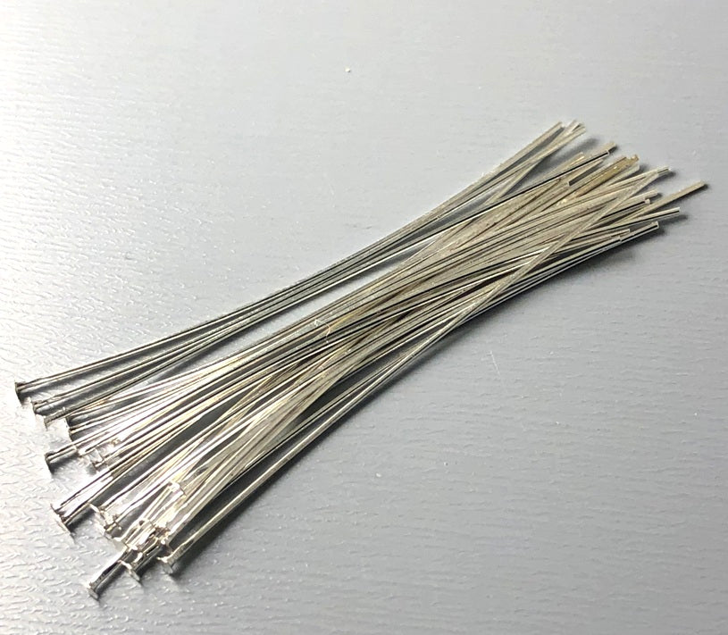 Silver Plated Flat End Head Pins (26 guage) - 1.75 inches - 50 pins