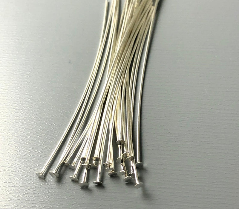Silver Plated Flat End Head Pins (26 guage) - 1.75 inches - 50 pins - Pim's Jewelry Supplies