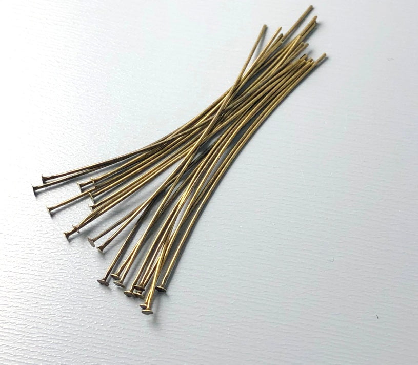 Antique Bronze Plated Flat End Head Pins (26 guage) - 1.75 inches - 50 pins
