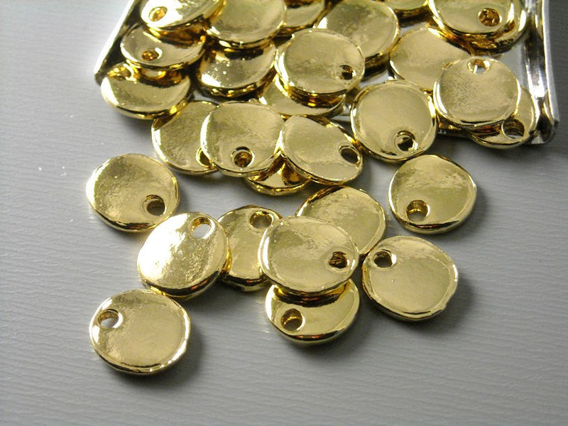 14k Gold Plated Tiny Disc - 6 pcs
