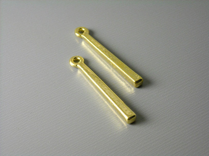 14k Gold Filled Contemporary Bar Pendant Charm, 2 pcs