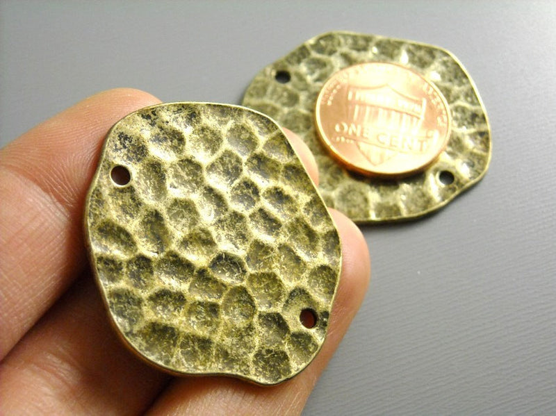 Antiqued Brass Textured Discs - 34mm - 2 pcs - Pim's Jewelry Supplies