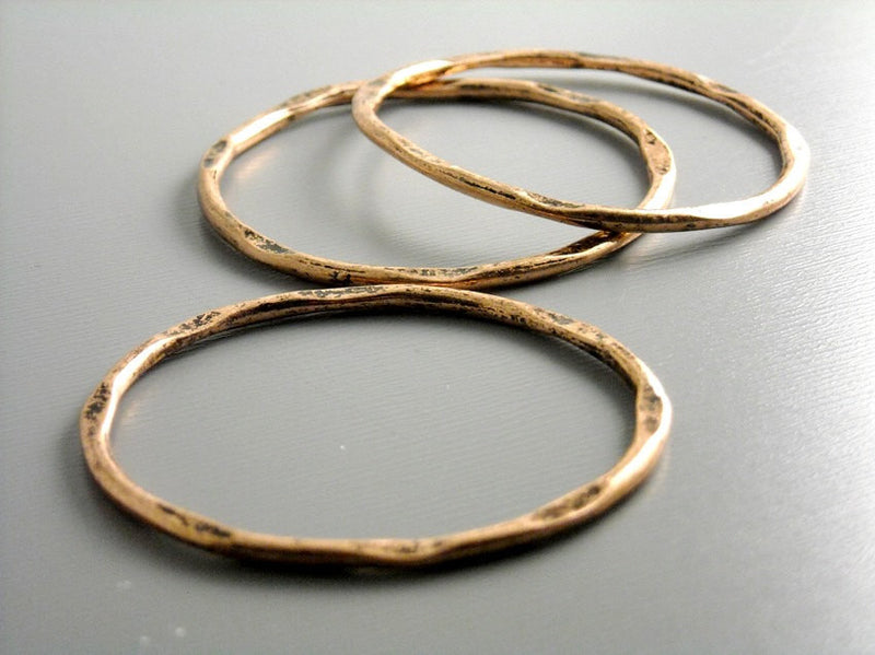 Links - Antique Copper Plated - Hammered - 41mm - 2 pcs - Pim's Jewelry Supplies