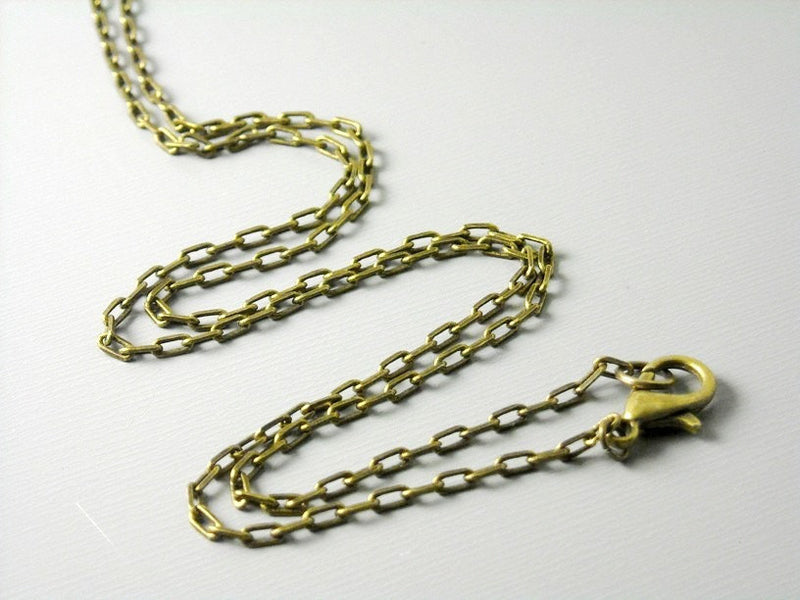 Necklace - Antique Bronze Plated - Soldered Links - 4mm x 2mm - Choose your length - Pim's Jewelry Supplies