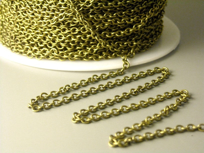 Chain - Antique Brass Finish - 2.2mm x 2mm Soldered Links - 10 feet