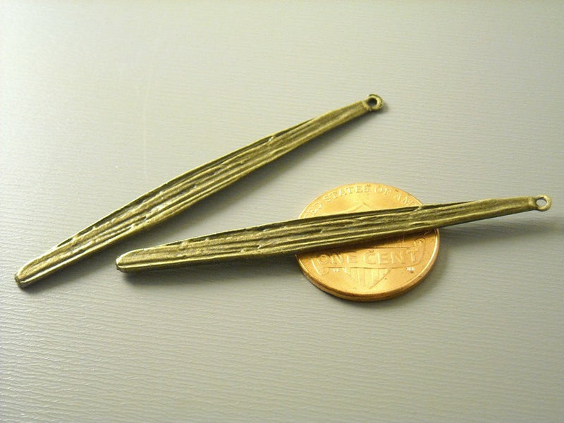 Antiqued Bronze Bar Charm, Flatten and Textured - 4 pcs - Pim's Jewelry Supplies