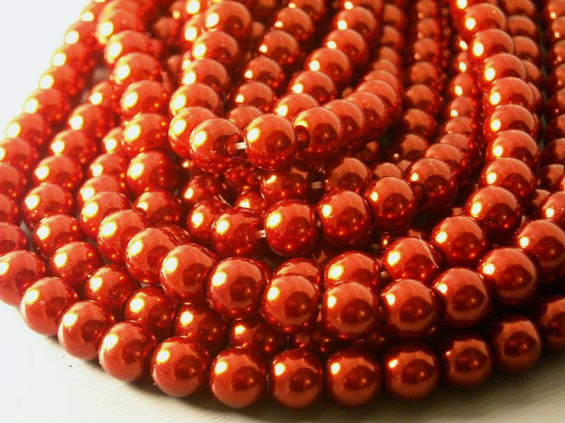 Czech Glass Pearl, Crimson Red, 6mm - Full 15-inch strand
