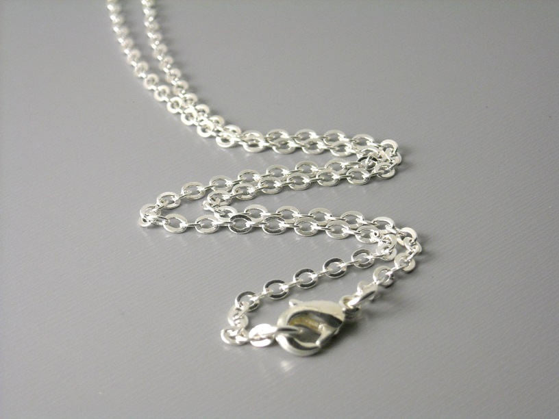 Solid Silver Plated Brass Necklace, 3mm x 2mm Flatten Links - Choose your length & Size