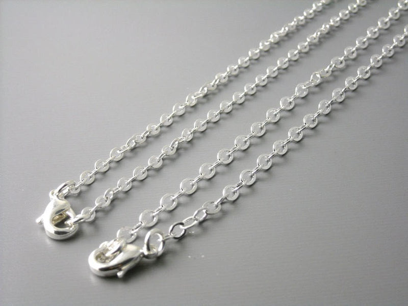 Necklace - Silver Plated - 3mm x 2mm - Flatten Links - Choose your length - Pim's Jewelry Supplies