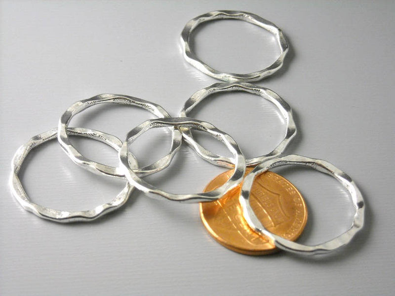 BRIGHT Silver Plated Hammered Circle Connectors - 6 pcs