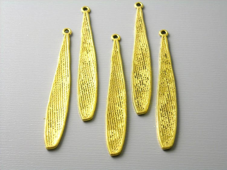 Antiqued Gold Plated Bar Charm, Flatten and Textured - 6 pcs - Pim's Jewelry Supplies