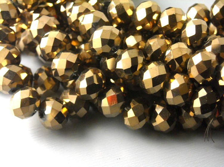Bronze Glass Rondelle Beads - 8x6mm - One full 15-inch strand