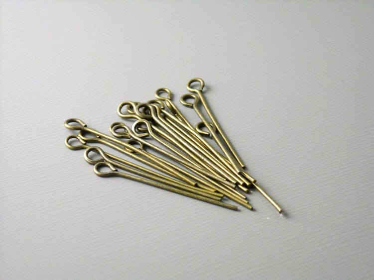 Antique Bronze Plated Eyepins, 21 gauge, 24mm long (0.94 inches) - 100 pcs