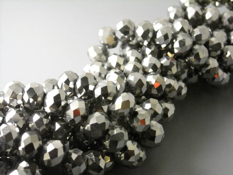 Silver Plated Glass Rondelle Beads - 8x6mm - full 15-inch strand - Pim's Jewelry Supplies