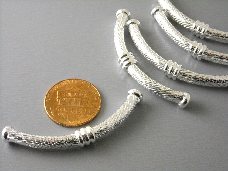 46mm Silver Plated Textured Brass Tubes - 2 pcs - Pim's Jewelry Supplies