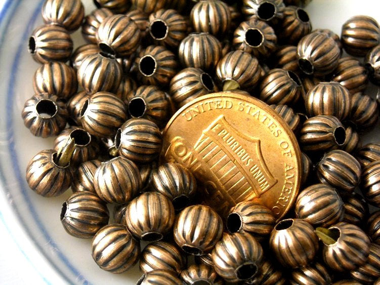 Corrugated Metal Bead in antique copper, 6mm - 50 pcs