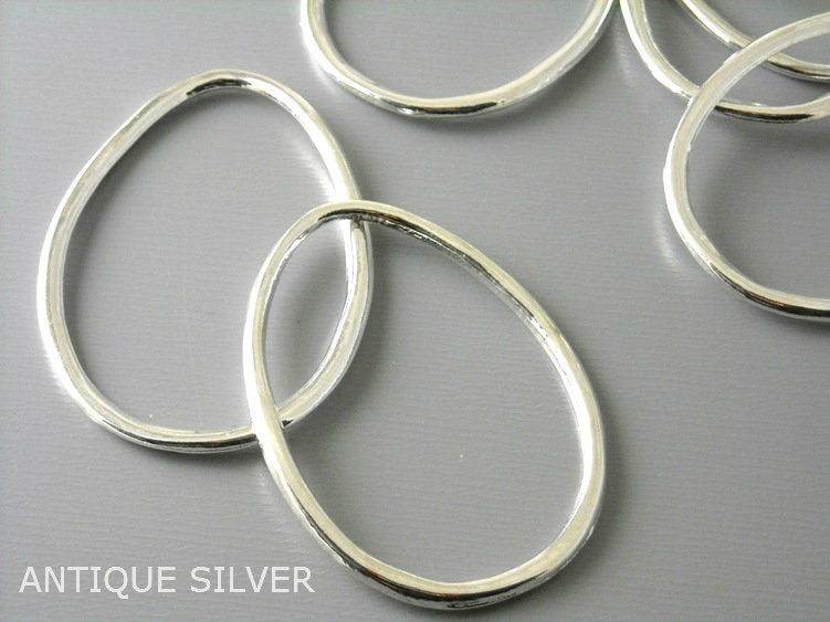 Large Drop Shaped Hoops - 5 different finishes - 4 pcs