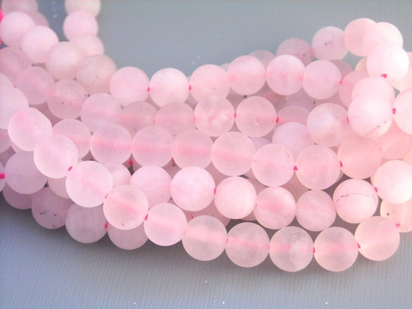 Matte Rose Quartz Beads - 6mm - 1 Strand (30 beads)