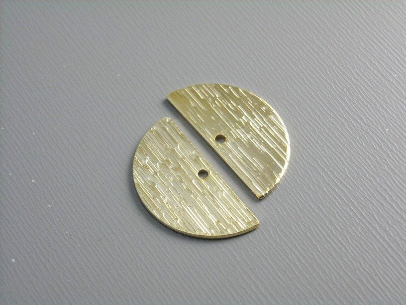 16k Gold Plated Half Moon Charm - 0.83 inch - 2 pcs