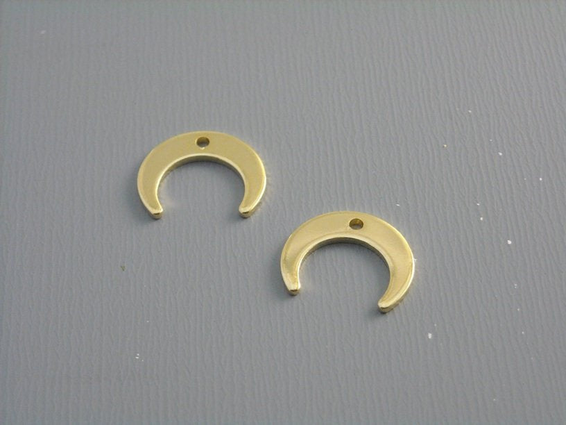 18k Gold Plated Crescent Moon Charm - 0.43 inch - 2 pcs