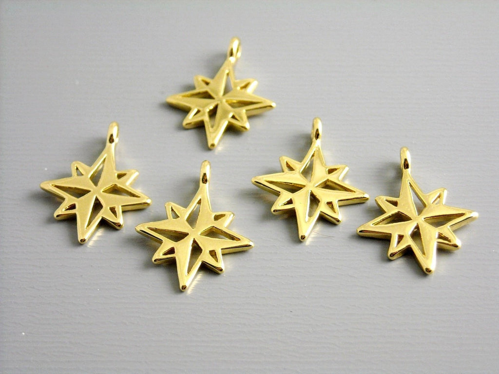 Charm - 14k Gold Plated - North Star - 14mm - 1 Charm