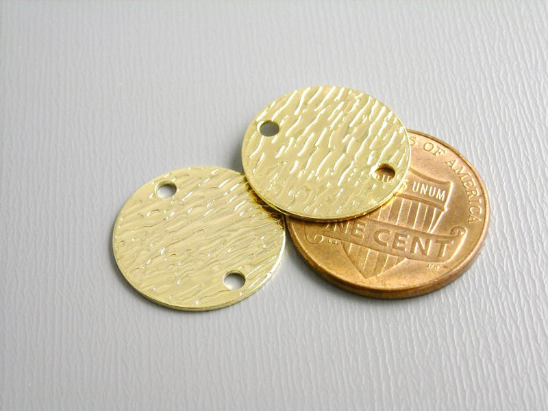 Charm - 14k Gold Plated - Round Tag & Textured - 16mm - 2 pcs