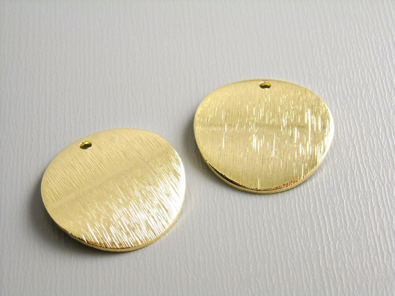 Charm - 14k Gold Plated - Round Tag, Curved & Textured - 18mm - 2 pcs