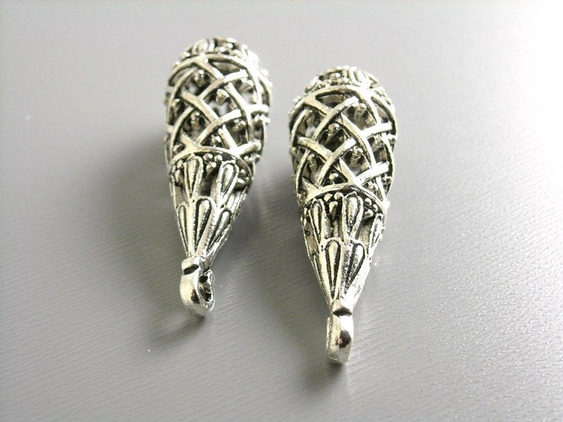 Charm - Antique Silver - Filigree Drop - 39mm - 2 pcs - Pim's Jewelry Supplies