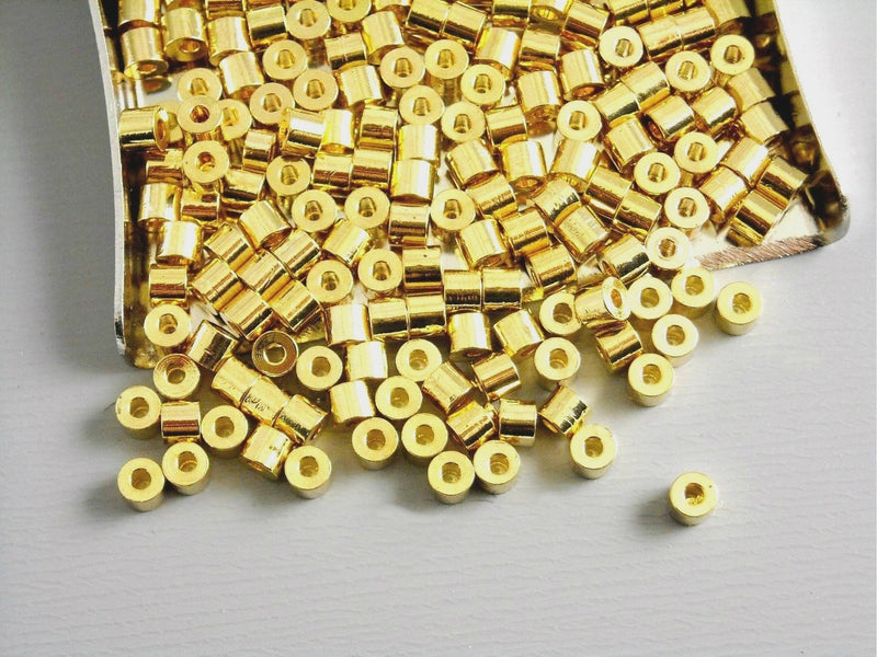 Spacers - 14k Gold Plated - Round Tube - 2.5mm - 20 pcs - Pim's Jewelry Supplies