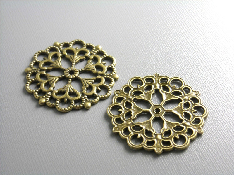 Filigree - Antique Bronze - Round - 29mm - 4 pcs - Pim's Jewelry Supplies