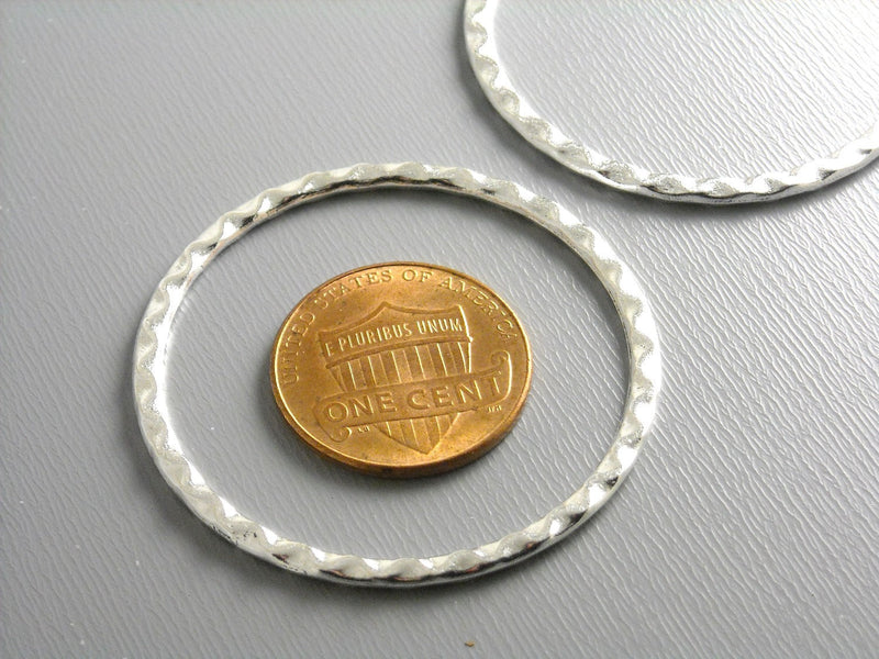 Links - Silver Plated - Circle & Textured - 37.5mm - 4 pcs - Pim's Jewelry Supplies