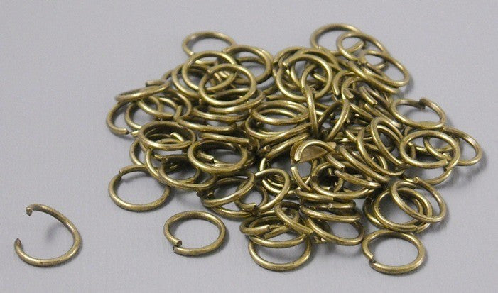 100 of 6mm Antique Bronze Open Jump Rings - Pim's Jewelry Supplies