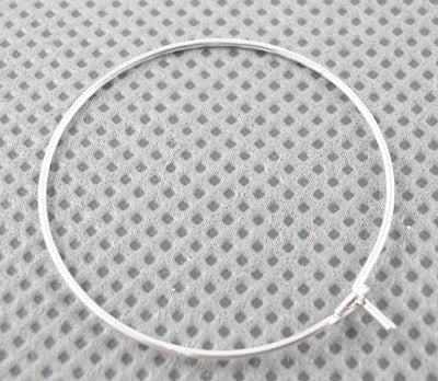 25mm Silver Plated Hoop Earrings - 20 pcs (10 pairs)
