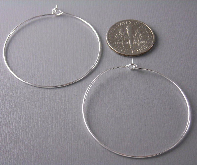 35mm Silver Plated Hoop Earrings - 20 pcs (10 pairs) - Pim's Jewelry Supplies