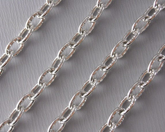 10-Feet 4mm x 3mm Platinum Plated Chain